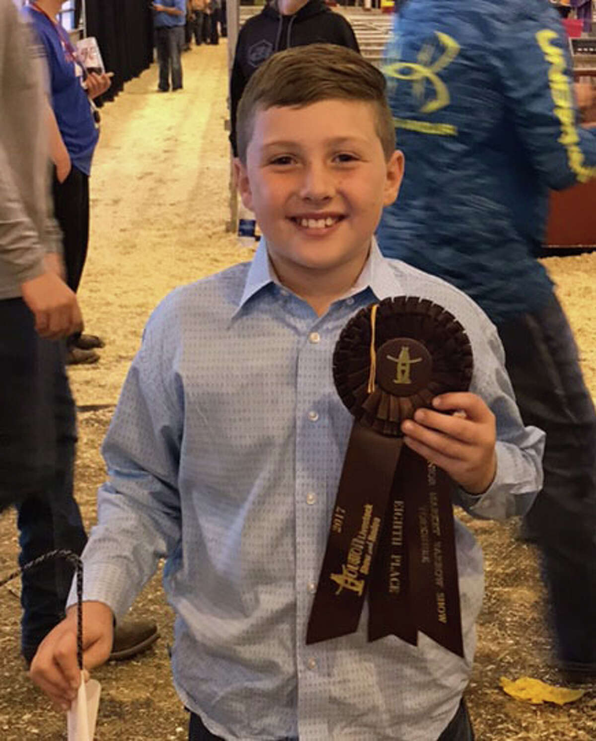 In the first year he was eligible to show at a major stock show, Coldspring Intermediate third-grader Wade Currie placed 8th in the Heavyweight Yorkshire class at the Houston Livestock Show and Rodeo Market Barrow Show, and made the sale.