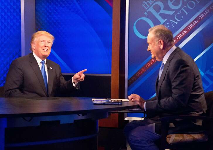 """Republican presidential candidate Donald Trump speaks during his interview with Bill O'Reilly on the Fox news talk show """"The O'Reilly Factor,"""" Friday, Nov. 6, 2015, in New York. (AP Photo/Bebeto Matthews)"""