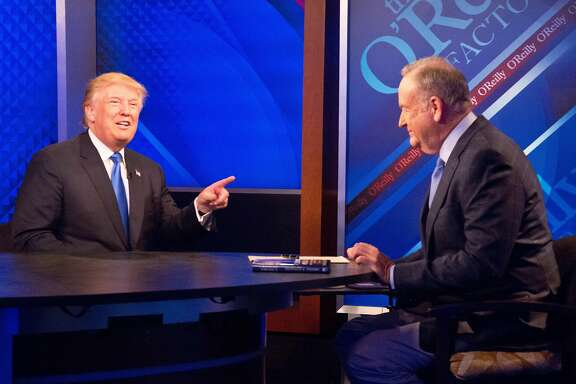 "Republican presidential candidate Donald Trump speaks during his interview with Bill O'Reilly on the Fox news talk show ""The O'Reilly Factor,"" Friday, Nov. 6, 2015, in New York. (AP Photo/Bebeto Matthews)"