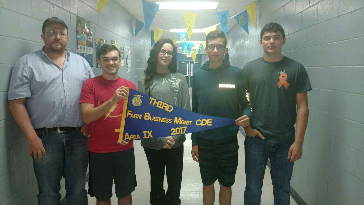 The Farm Business Management Team for Shepherd FFA is made up of Keagan Vaughn, Jace Schrader, Jacob Dean and Malloreigh Rhodes.