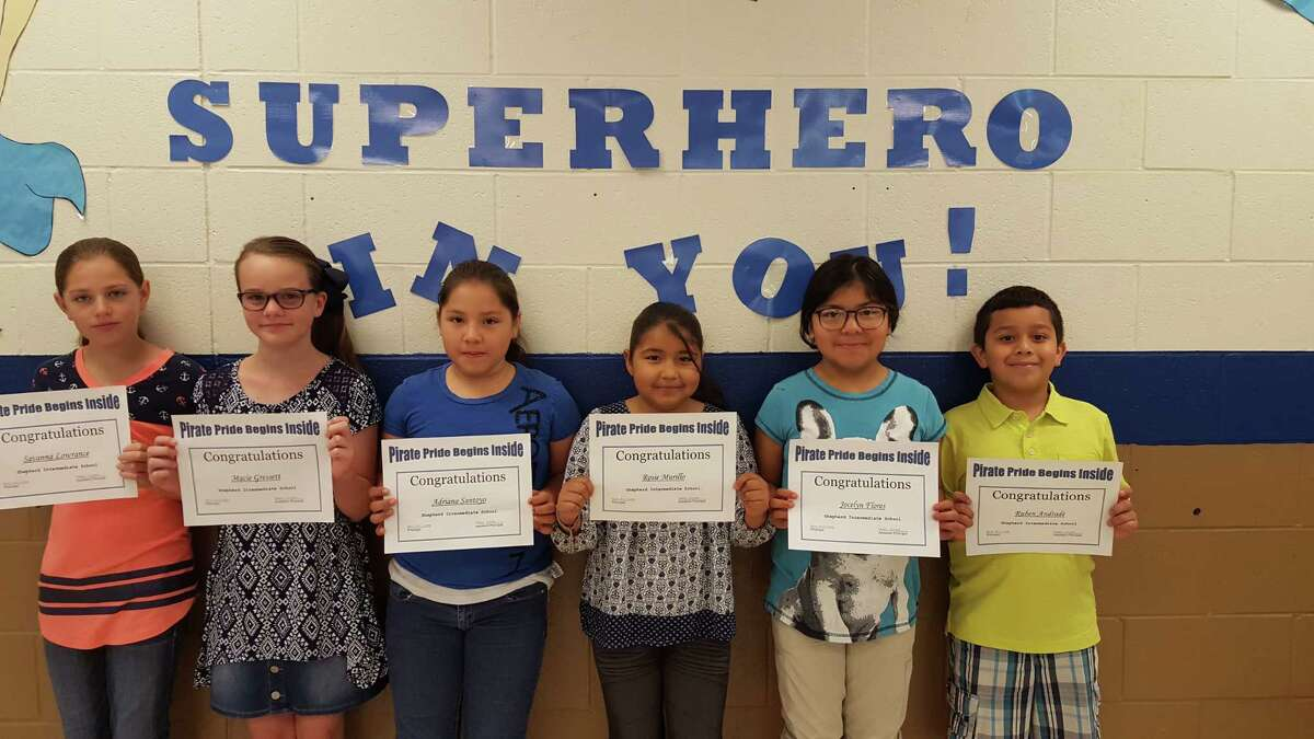 Each week a teacher picks two students from their class who shows Pirate Pride. Students show Pirate Pride by being helpful and respectful to teachers and peers. The following students received Shepherd Intermediate Pirate Pride for the week ending April 14, 2017: Jocelyn Flores, Ruben Andrade, Rosie Murillo, Adriana Santoyo, Macie Gressett and Savanna Lowrance.