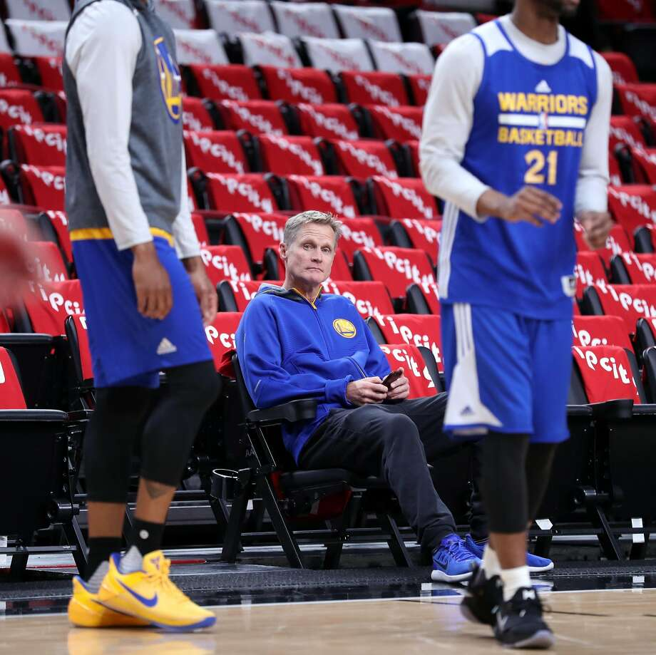 Golden State Warriors' head coach Steve Kerr during shoot around before Game 4 of NBA Western Conference 1st Round Playoffs at Moda Center in Portland, Oregon on Monday, April 24, 2017. Photo: Scott Strazzante, The Chronicle
