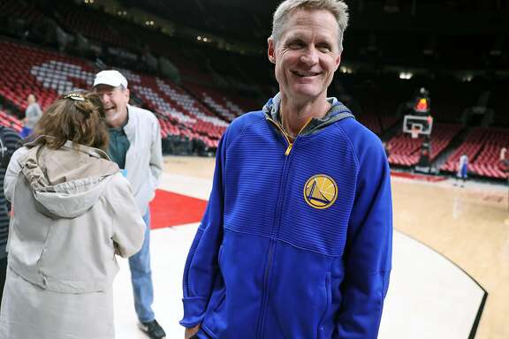 Golden State Warriors' head coach Steve Kerr leaves shoot around before Game 4 of NBA Western Conference 1st Round Playoffs at Moda Center in Portland, Oregon on Monday, April 24, 2017.