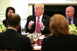 President Donald Trump on Monday, April 24, 2017, at the White House during a meeting of the United Nations Security Council. On Monday, the Wall Street Journal reported Trump will unveil Wednesday plans to cut the U.S. corporate tax rate to 15 percent, from 35 percent today. (Photo by Chip Somodevilla/Getty Images)