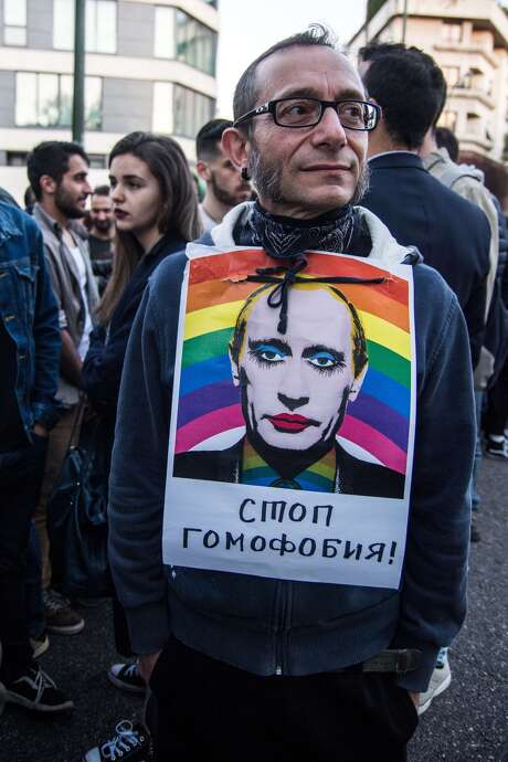 In this photo: A protestor in Chechnya. Vladimir Putin's spokesperson Dmitri Peskov said that he could not 