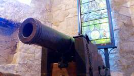A historic cannon that was dedicated at The Alamo on Jan. 24, 2015, is positioned in a side room within the shrine. The San Jacinto Battleground Conservancy hosted a dedication for the Alamo Defenders' cannon, which was bought by a family in an auction and donated in 2008 to the conservancy, which restored it and loaned it to the Alamo. It hasn't concretely been proven, but experts believe the cannon was one of the 21 used to defend the Alamo during the historic battle of 1836.