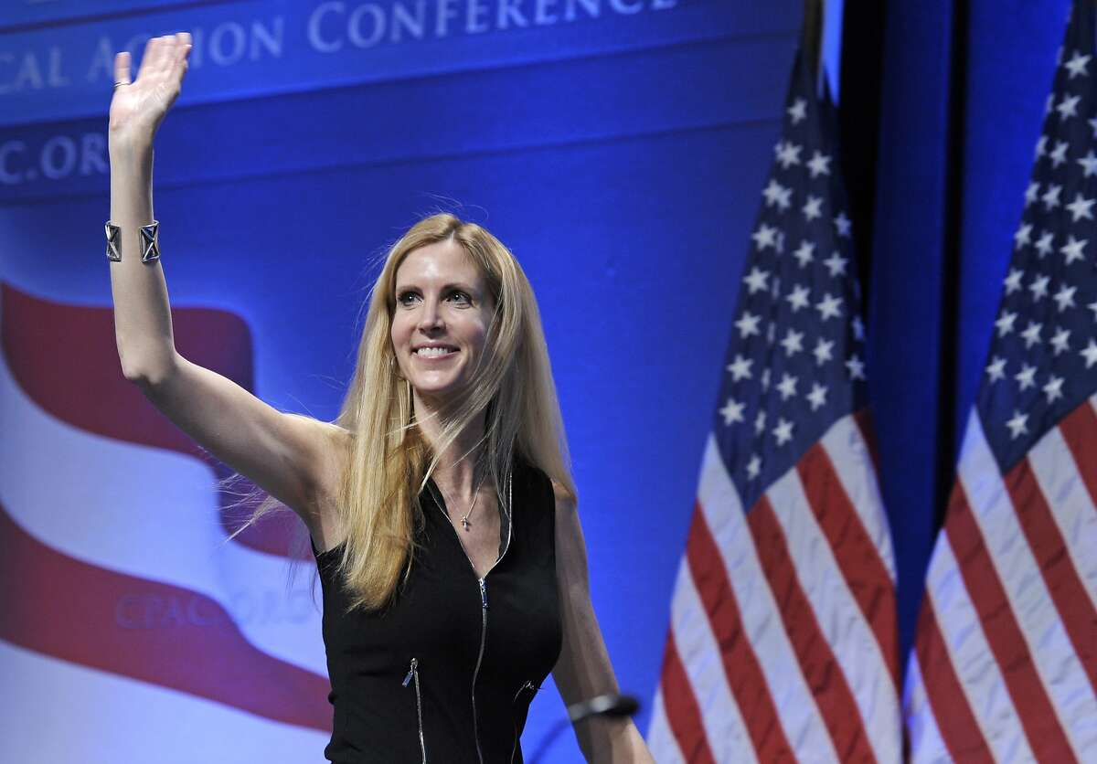 In this Feb. 12, 2011 file photo, Ann Coulter waves to the audience after speaking at the Conservative Political Action Conference (CPAC) in Washington. University of California, Berkeley students who invited Coulter to speak on campus filed a lawsuit Monday April 24, 2017, against the university, saying it is discriminating against conservative speakers and violating students' rights to free speech. Campus Republicans invited Coulter to speak at Berkeley on April 27, but Berkeley officials informed the group that the event was being called off for security concerns.