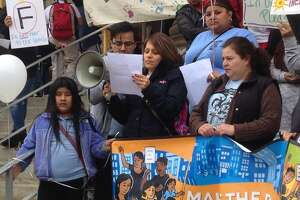 A rally is held outside city hall on Monday, April 24, 2017 calling for better services for Bridgeport students learning English.