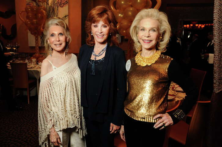 From left: Joan Schnitzer, honoree Stephanie Powers and Lynn Wyatt at the ESCAPE Family Resource Center's annual Celebrity Serve at Tony's Sunday April 23,2017.(Dave Rossman Photo)