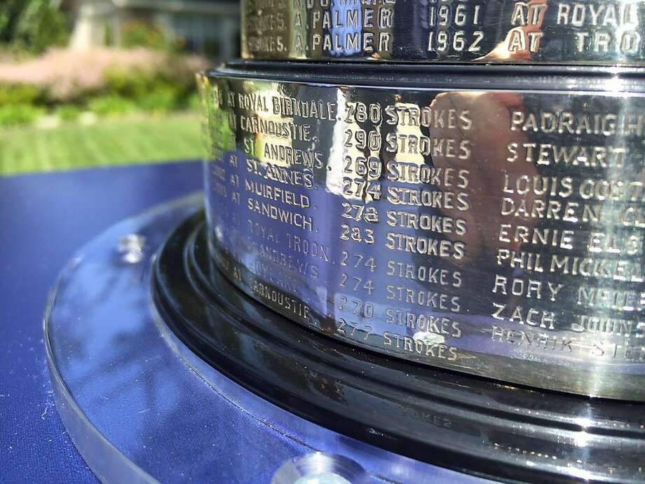 All the winners of the Open Championship are listed on the Claret Jug, dating to 1872. Photo: Ron Kroichick
