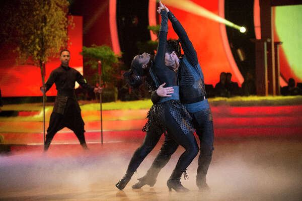 Normani Kordei and Val Chmerkovskiy during Disney week on Dancing with the Stars.