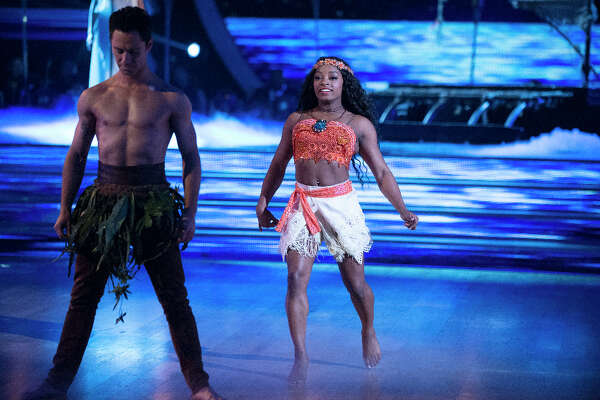 Simone Biles and Sasha Farber during Disney week on Dancing with the Stars.