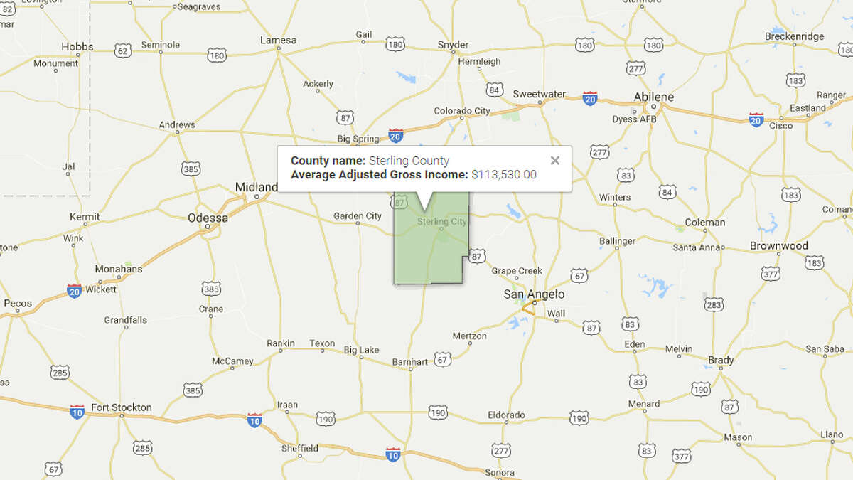 Sterling County Average Adjusted Gross Income: $113,530 Source: TRAC, Syracuse University