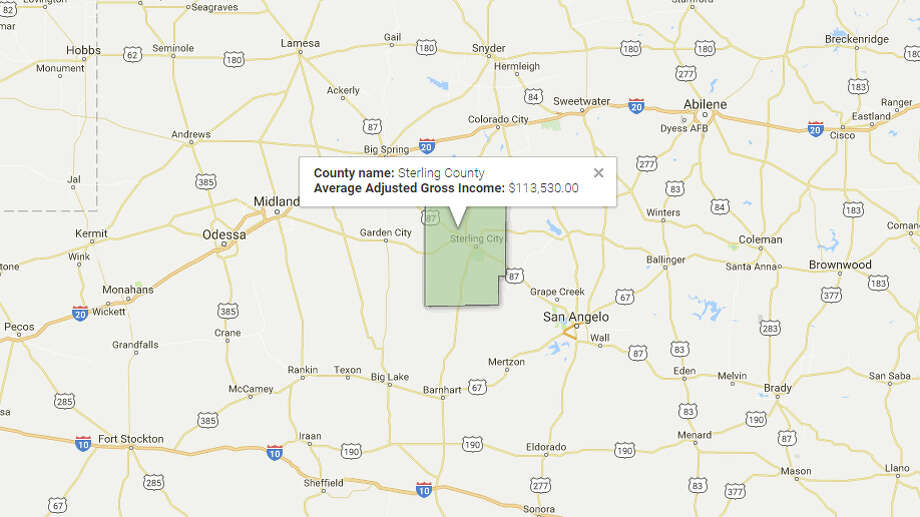 Sterling County Average Adjusted Gross Income: $113,530Source: TRAC, Syracuse University Photo: Google Maps