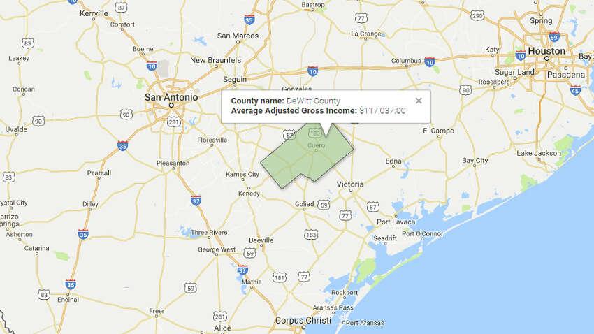 DeWitt CountyAverage Adjusted Gross Income:$117,037 Source:TRAC, Syracuse University