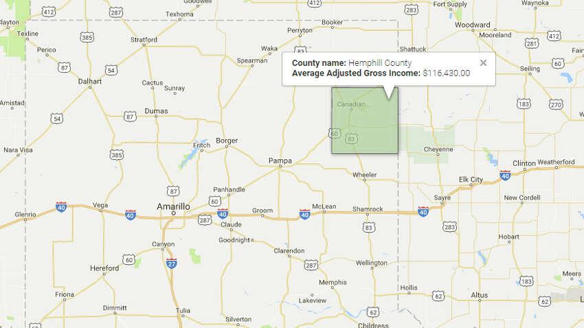 Hemphill CountyAverage Adjusted Gross Income:$116,430 Source:TRAC, Syracuse University