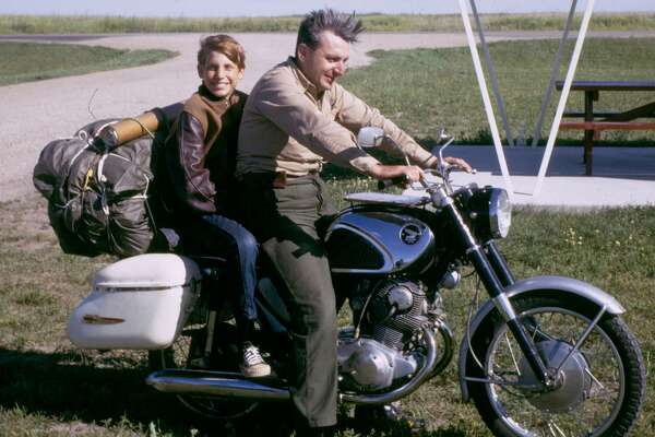 """Robert M. Pirsig, the author of """"Zen and the Art of Motorcycle Maintenance,"""" and his son, Chris, in 1968. Chris was stabbed to death outside the Zen Center in San Francisco in 1979."""
