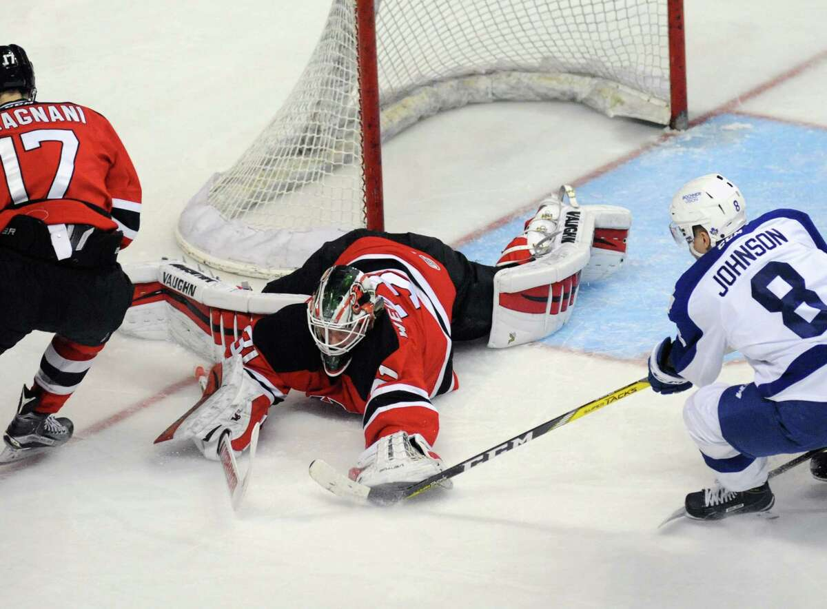 Devils goalie Scott Wedgewood makes a save during their American Hockey League quarterfinal playoff series against Toronto at the Times Union Center on Tuesday May 10, 2016 in Albany , N.Y. (Michael P. Farrell/Times Union)
