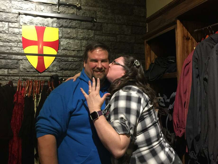 Knight Watch Games is certainly for lovers, too. Peter Pochon and Kat Holler (pictured) also got engaged at the San Antonio tabletop gaming store, just days after Knight Watch regulars Chris Sherrer and Morgan Mooso. Photo: Courtesy Kat Holler