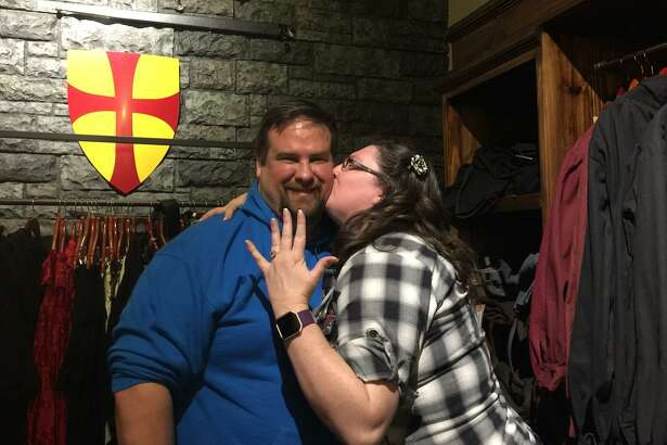 Knight Watch Games is certainly for lovers, too. Peter Pochon and Kat Holler (pictured) also got engaged at the San Antonio tabletop gaming store, just days after Knight Watch regulars Chris Sherrer and Morgan Mooso.