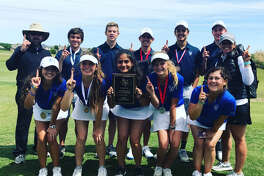 The Trinity girls and boys golf teams pose after winning their respective titles at the TAPPS 4A Northern Regional Tournament at the Mansfield National Golf Course on Monday.This was the first time both teams had won regional titles in the same year. Courtesy photo