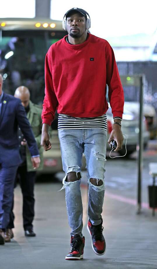 Gallery: The pregame looks of the Golden State WarriorsKevin Durant, who recently gave us a peek inside his massive closet, was strictly casual before Game 4 against the Blazers, rocking an Acne Studios sweatshirt that retails for $240. Photo: Scott Strazzante, The Chronicle