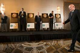 Matt Williams (Baseball) is introduced with Russell Baze (Horse Racing), Roger Craig (NFL Hall of Fame), Bill Cartwright (Basketball),  ?Carmen Policy (Distinguished Service) and Kerri Walsh Jennings (Volleyball) with their plaques at the 38th Annual Bay Area Sports Hall of Fame Enshrinement Banquet  at the Westin St. Francis Hotel on Monday, April 24, 2017 in San Francisco, CA.