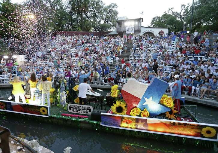 "The Battle of Flowers Association float ""Kaleidoscope of Texas Flowers"" makes its way through the Arneson River Theatre at La Villita during the 2017 Texas Cavaliers River Parade "" Kaleidoscope"" held Monday April, 24, 2017."