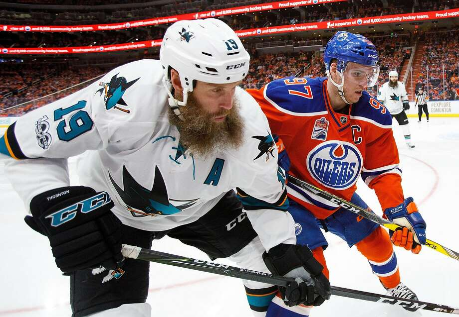 Sharks mainstay Joe Thornton is one of the top centers available when the NHL's free agency period opens Saturday. Photo: Codie McLachlan, Getty Images