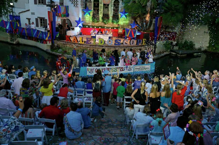 """The San Antonio Chamber of Commerce float passes through the Arneson River Theatre at La Villita during the 2017 Texas Cavaliers River Parade """"Kaleidoscope"""" held Monday April, 24, 2017. Photo: Edward A. Ornelas, San Antonio Express-News / © 2017 San Antonio Express-News"""