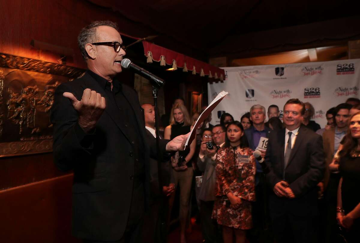 Special guest Tom Hanks reads from his new book Uncommon Type: Some Stories, during a fundraiser to benefit 826 Valencia and ScholarMatch, at Bimbo's 365 Club in San Francisco, Calif., on Monday April 24, 2017.