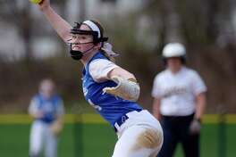 Calista Phippen of Ichabod Crane delivers a pitch during the Ichabod Crane and Cohoes girls softball game on Monday, April 17, 2017, in Cohoes, N.Y.  (Paul Buckowski / Times Union)