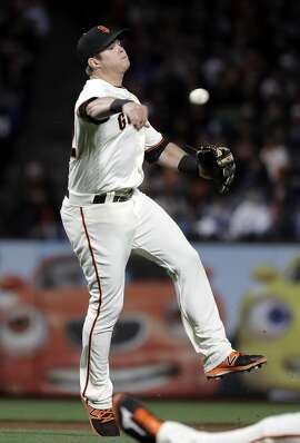 San Francisco Giants third baseman Christian Arroyo throws out Los Angeles Dodgers' Yasmani Grandal at first base after a ground ball during the fourth inning of a baseball game, Monday, April 24, 2017, in San Francisco . (AP Photo/Marcio Jose Sanchez)