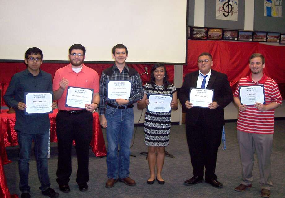 "Plainview High Powerhouse of the Plains Band scholarship recipients for 2016-17 were announced Saturday during the annual band banquet. They include Marco Martinez (left), Cliff Franklin Jazz Scholarship; John David Andrade, Chief Davidson Memorial Scholarship; Colton Langston, O.T. Ryan Memorial Scholarship; Sasha Gonzalez, Charles Bechtold Memorial Scholarship; Armando Gonzalez, Chris Stokes Memorial Scholarship; and Caleb Martin, Barry Hurt ""Give me a B"" Scholarship. Also announced was the title of next fall's marching show – ""Twisted."""
