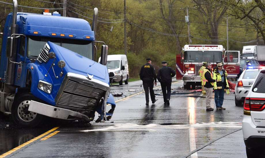 At least one person was badly injured in a crash Tuesday morning on River Road in Selkirk. River Road was closed between Wemple and Clapper roads after 9 a.m. Photo: Skip Dickstein / Times Union