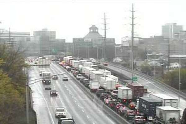 Southbound traffic is jammed un Stamford after I-95 was closed because of a fatal accident in Greenwich.