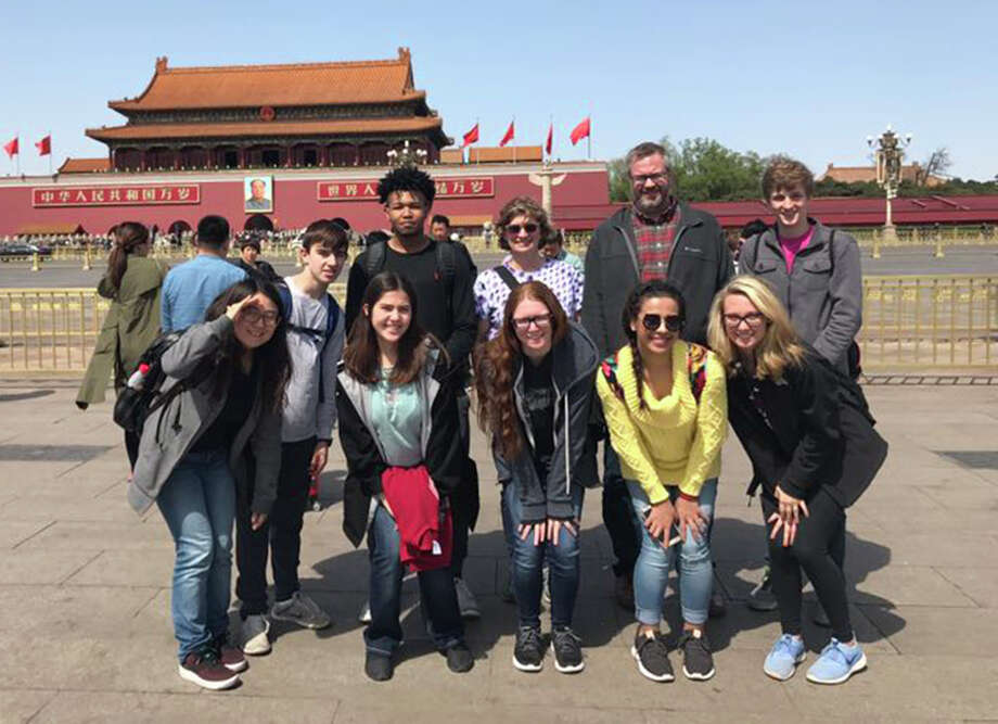 The EHS contingent at the entrance to the Forbidden City. In front are, from left: Tracy Zhao, Team leader with Alpha Partners Education;  Elaine McWhorter, Amber Pocuca, Alyssa Young and Sydney Balding. In back are, from left: Jackson O'Leary, RJ Wilson, Jane Hicks, Kevin Paur and Ian Klein. Photo: For The Intelligencer