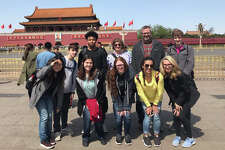 The EHS contingent at the entrance to the Forbidden City. In front are, from left: Tracy Zhao, Team leader with Alpha Partners Education;  Elaine McWhorter, Amber Pocuca, Alyssa Young and Sydney Balding. In back are, from left: Jackson O'Leary, RJ Wilson, Jane Hicks, Kevin Paur and Ian Klein.