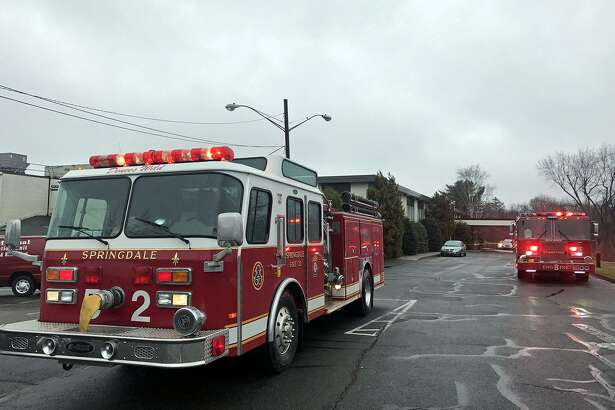 Stamford firefighters respond to a two-alarm blaze that they say started in the woman's lockerroom of the Italian Center on Newfield Avenue, Stamford, Conn, April 6, 2017.