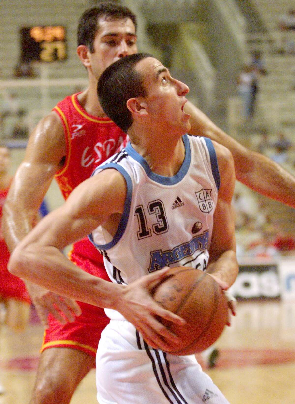 1998: Emanuel Ginobili (13) competes in the World basketball Championship.