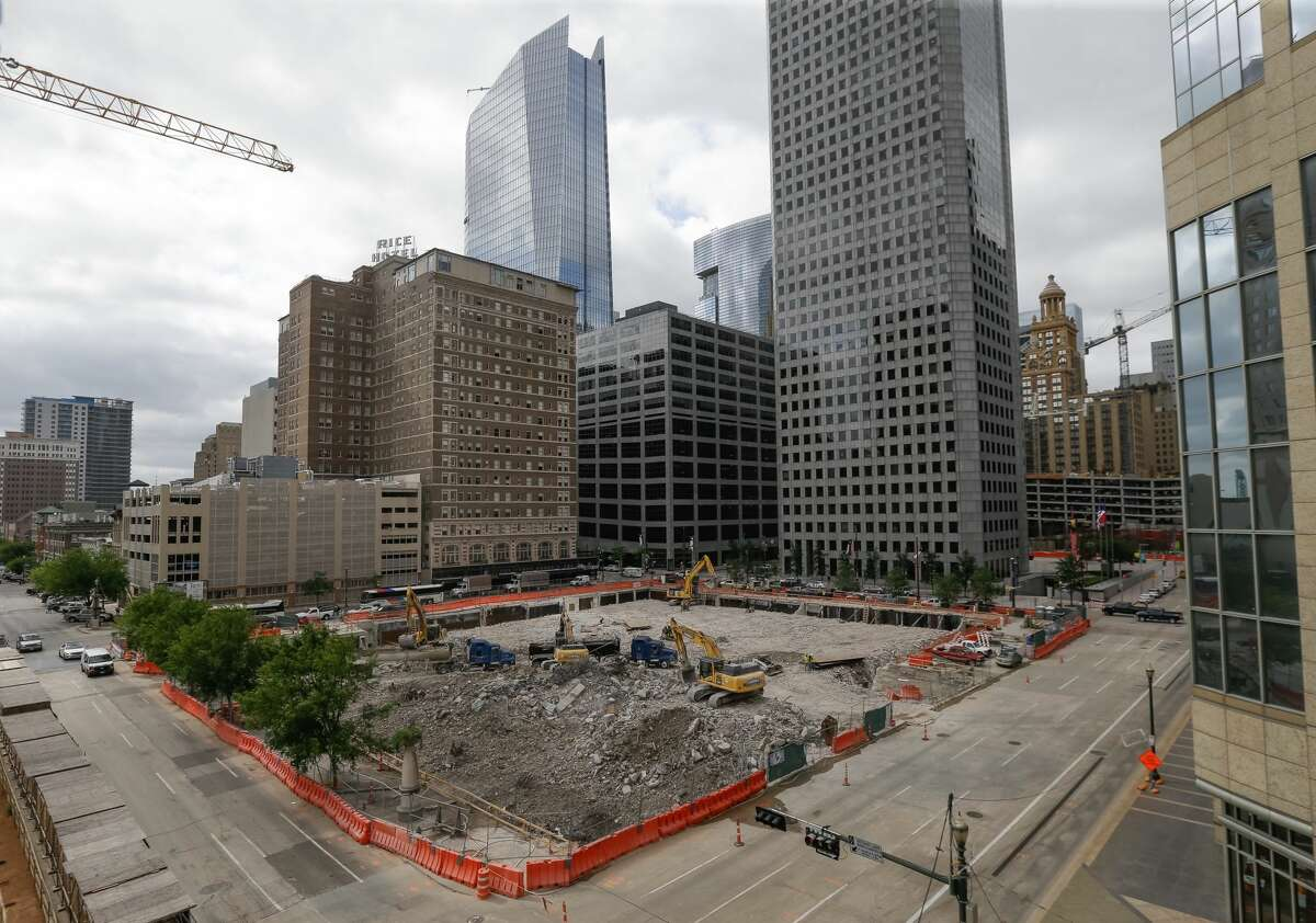 PHOTOS: The old Houston Chronicle building comes down Demolition at 801 Texas Ave. is shown Tuesday, April 25, 2017. Click through to see more photos of the demolition of the historic building in downtown Houston...
