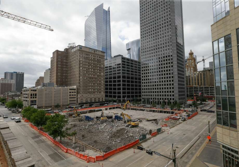 PHOTOS: The old Houston Chronicle building comes downDemolition at 801 Texas Ave. is shown  Tuesday, April 25, 2017.Click through to see more photos of the demolition of the historic building in downtown Houston... Photo: Melissa Phillip