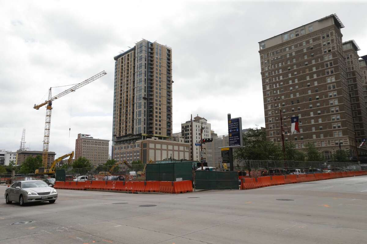 Demolition at 801 Texas Ave. is shown Tuesday, April 25, 2017. The location was formerly the Houston Chronicle.
