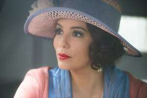 """Eva Longoria is a vision in hats in British comedy """"Decline and Fall."""""""