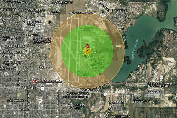 Laredo International Airport    A  North Korean weapon tested in 2009  carried a payload of 6 kilotons and would likely destroy all of the airport. The entire area would be enveloped in radiation (green, orange).