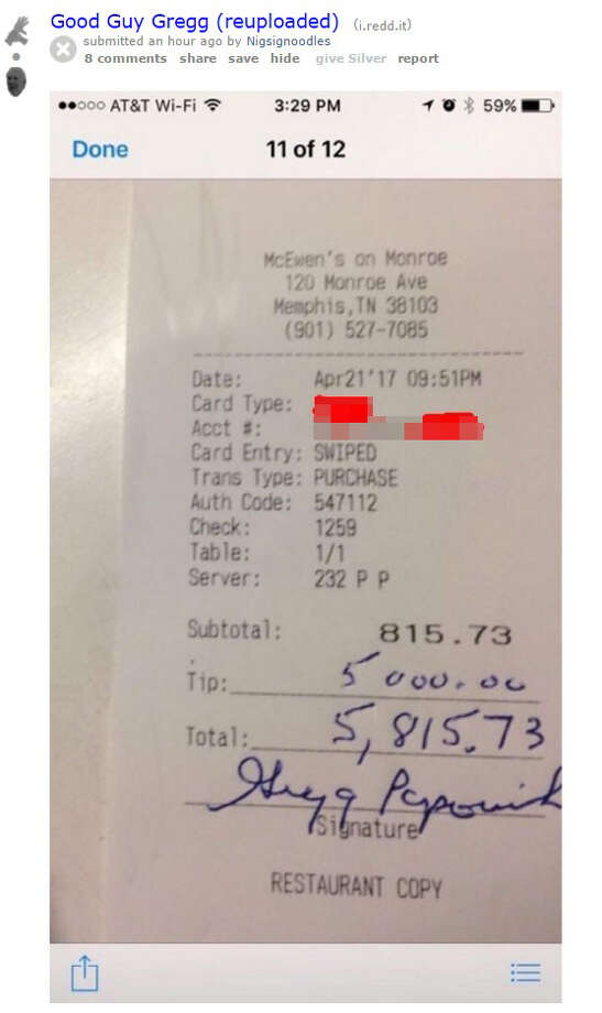 Reddit user nigsignoodlers posted a photo that appears to show Spurs Head Coach Gregg Popovich left a $5,000 tip while dining at a Memphis restaurant April 21, 2017 during playoffs. Photo: Reddit/nigsignoodles