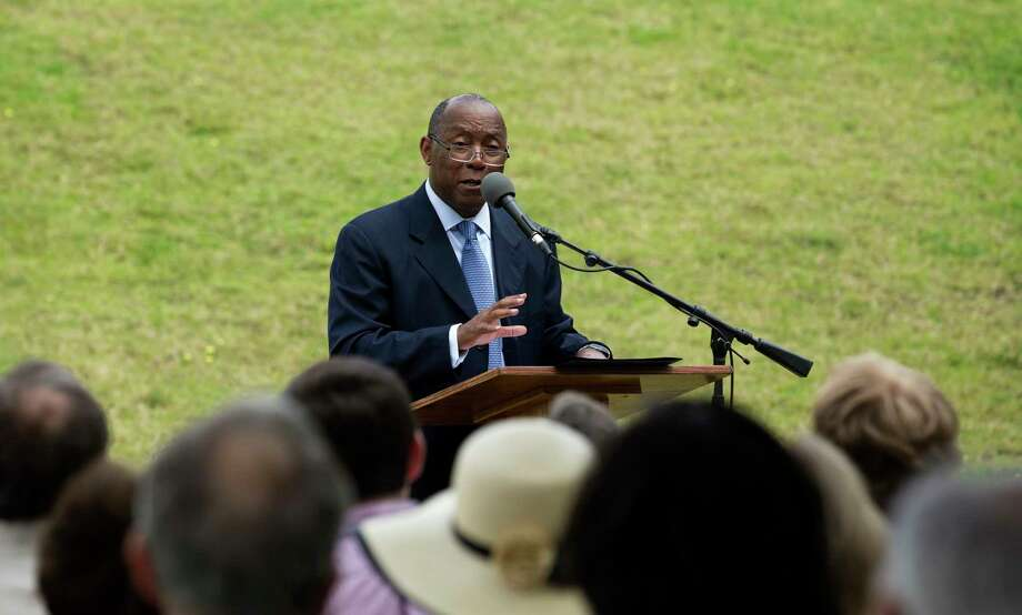 The mayor speaks about Hershey, who is credited with starting the environmental movement in Houston. Photo: Godofredo A. Vasquez, Houston Chronicle / Godofredo A. Vasquez