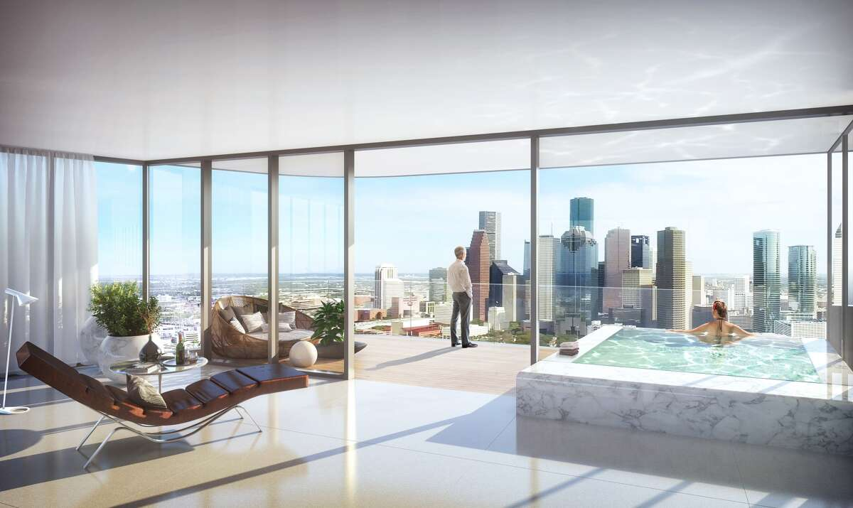 A rendering of luxury condominiums designed by HOK and proposed along Allen Parkway. (Courtesy of DC Partners)