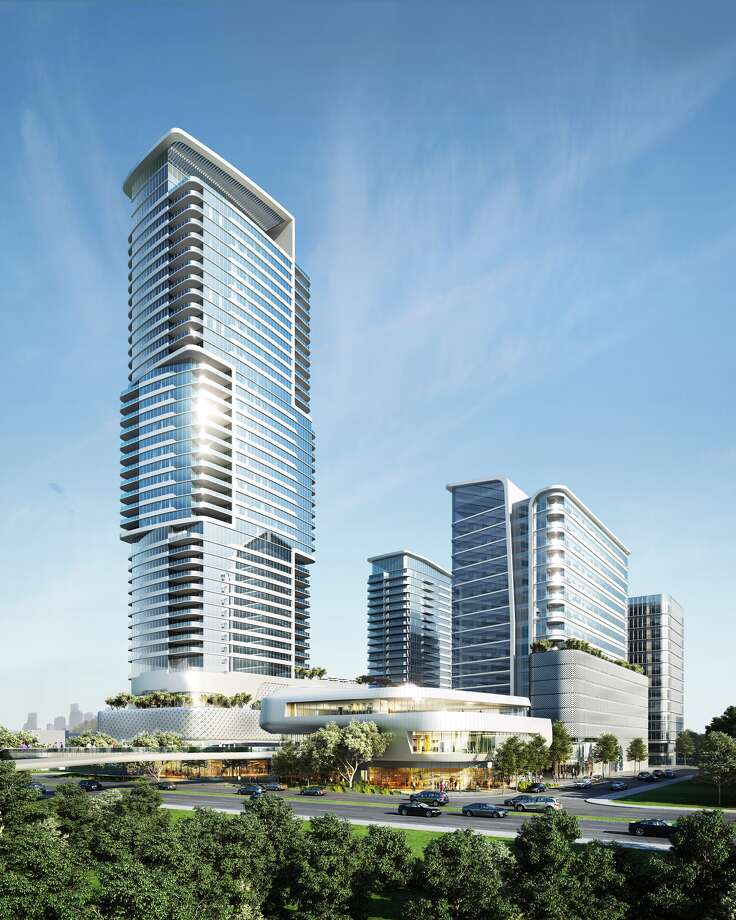 A rendering of luxury complex designed by HOK and proposed along Allen Parkway. (Courtesy of DC Partners)