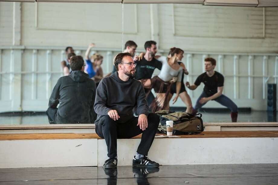 """Trey McIntyre, commissioned to choreograph a tribute to the Summer of Love, observes Smuin dancers rehearsing the piece, """"Be Here Now."""" Photo: Chris Hardy"""